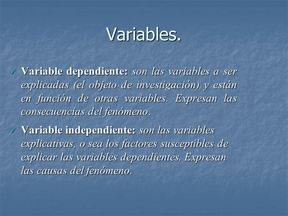 Variables. Variable dependiente: son las variables a ser explicadas (el objeto de investigación) y están en función de otras variables. Expresan las c
