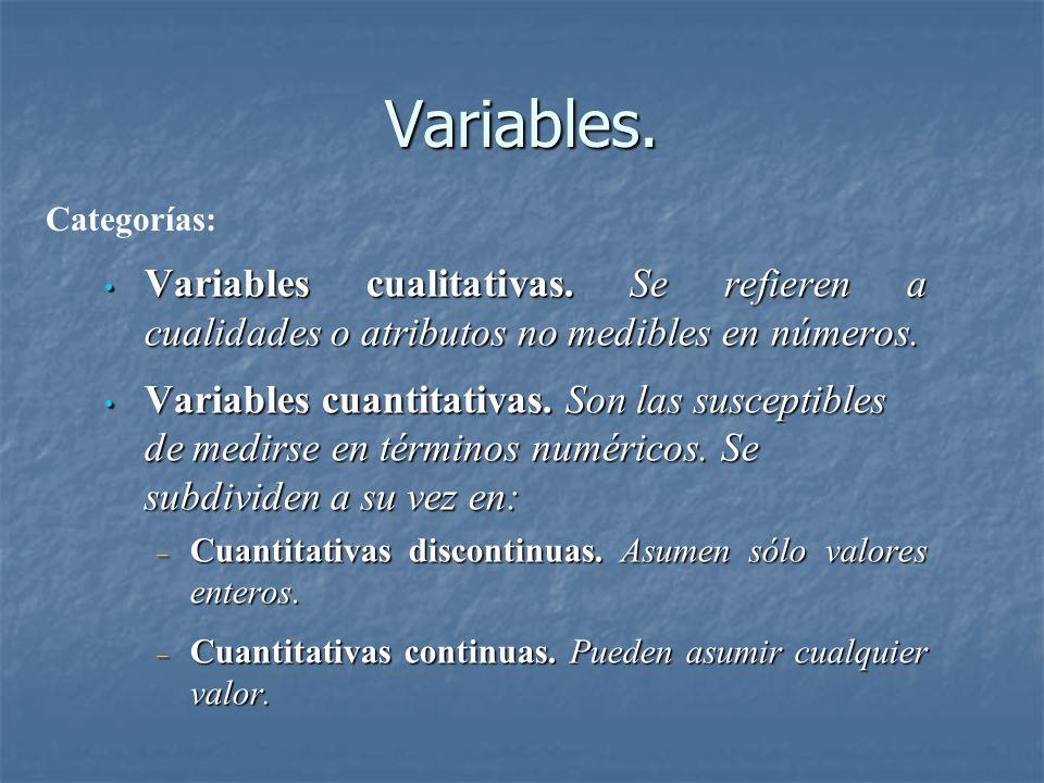Variables. Variables cualitativas. Se refieren a cualidades o atributos no medibles en números. Variables cualitativas. Se refieren a cualidades o atr