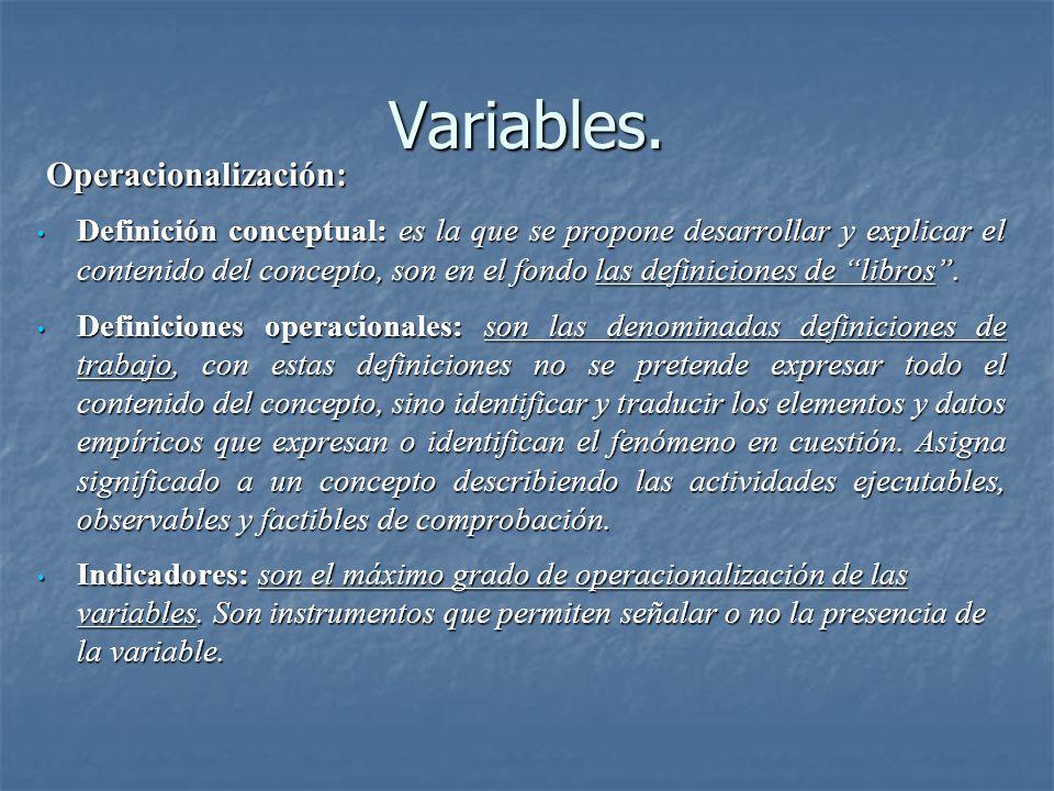Variables. Definición conceptual: es la que se propone desarrollar y explicar el contenido del concepto, son en el fondo las definiciones de libros. D