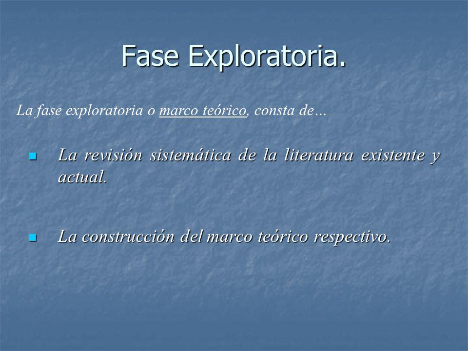 Fase Exploratoria.La revisión sistemática de la literatura existente y actual.