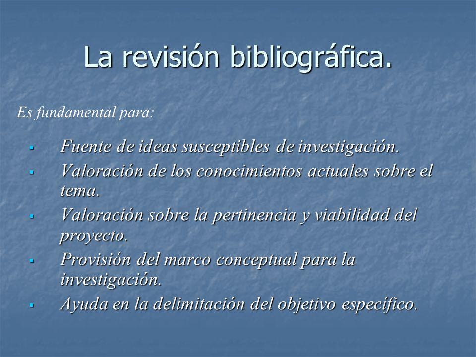 La revisión bibliográfica. Fuente de ideas susceptibles de investigación. Fuente de ideas susceptibles de investigación. Valoración de los conocimient