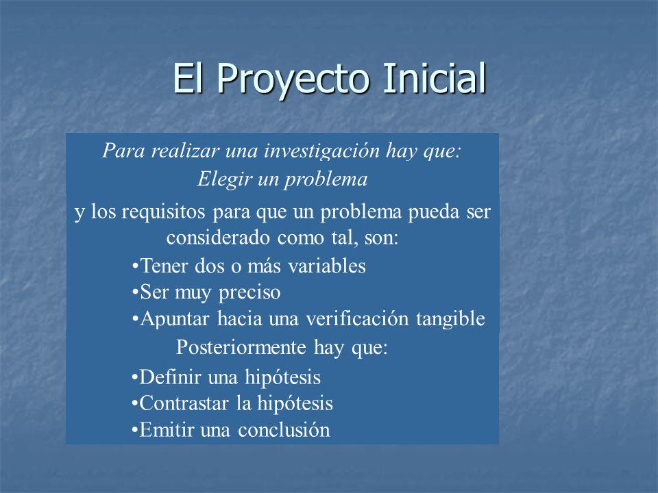 El Proyecto Inicial Para realizar una investigación hay que: Elegir un problema y los requisitos para que un problema pueda ser considerado como tal,