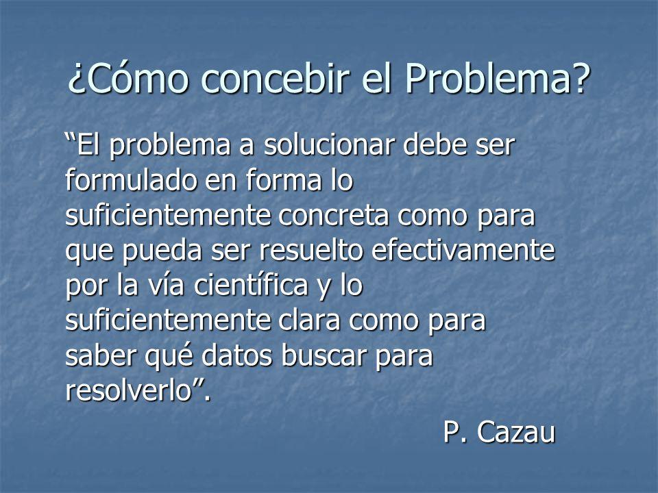 ¿Cómo concebir el Problema? El problema a solucionar debe ser formulado en forma lo suficientemente concreta como para que pueda ser resuelto efectiva
