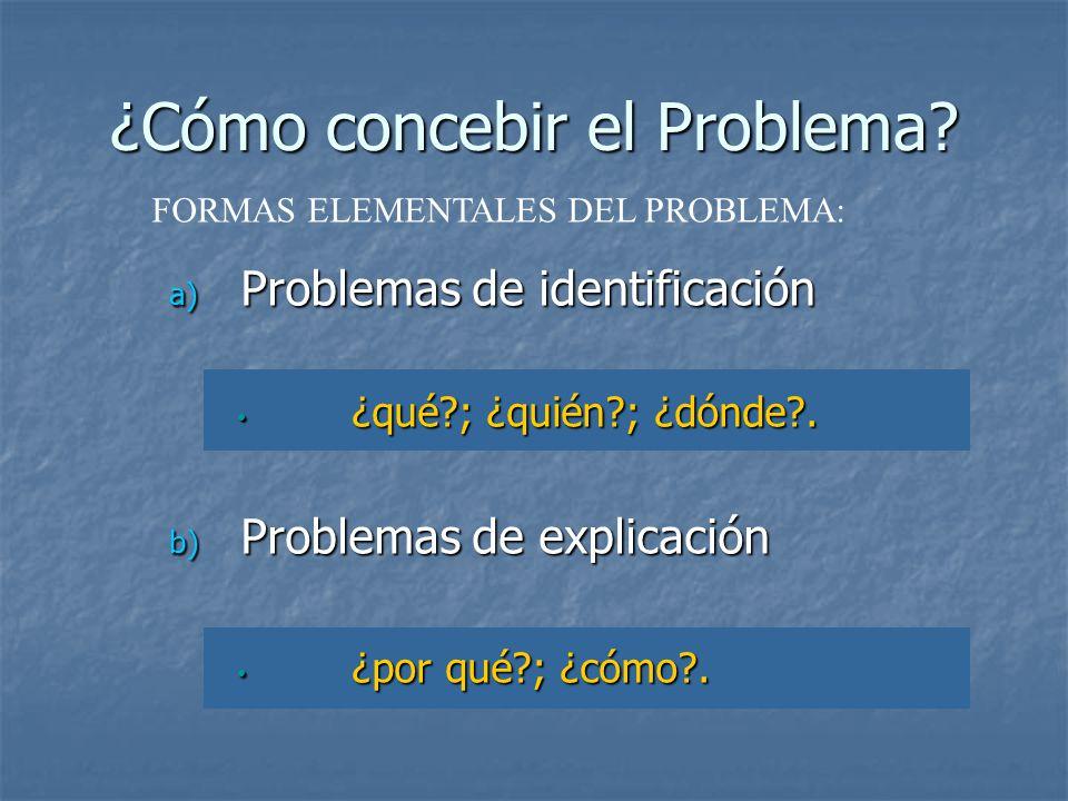 ¿Cómo concebir el Problema? a) Problemas de identificación ¿qué?; ¿quién?; ¿dónde?. ¿qué?; ¿quién?; ¿dónde?. b) Problemas de explicación ¿por qué?; ¿c