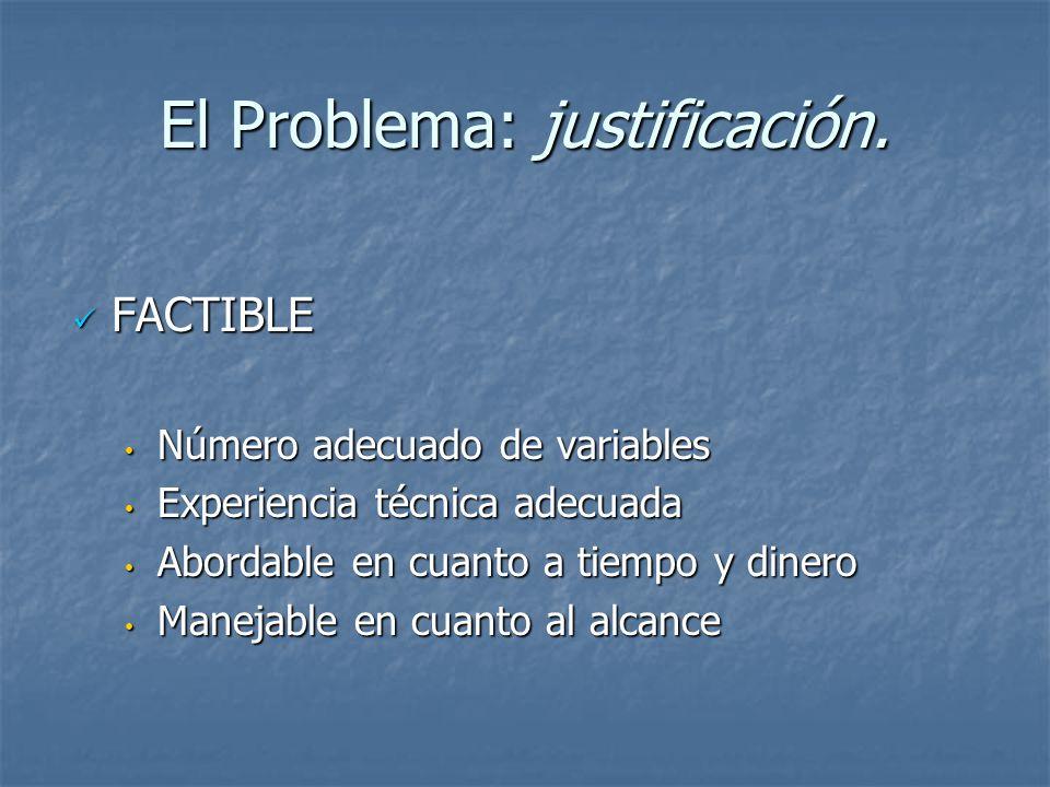 El Problema: justificación. FACTIBLE FACTIBLE Número adecuado de variables Número adecuado de variables Experiencia técnica adecuada Experiencia técni