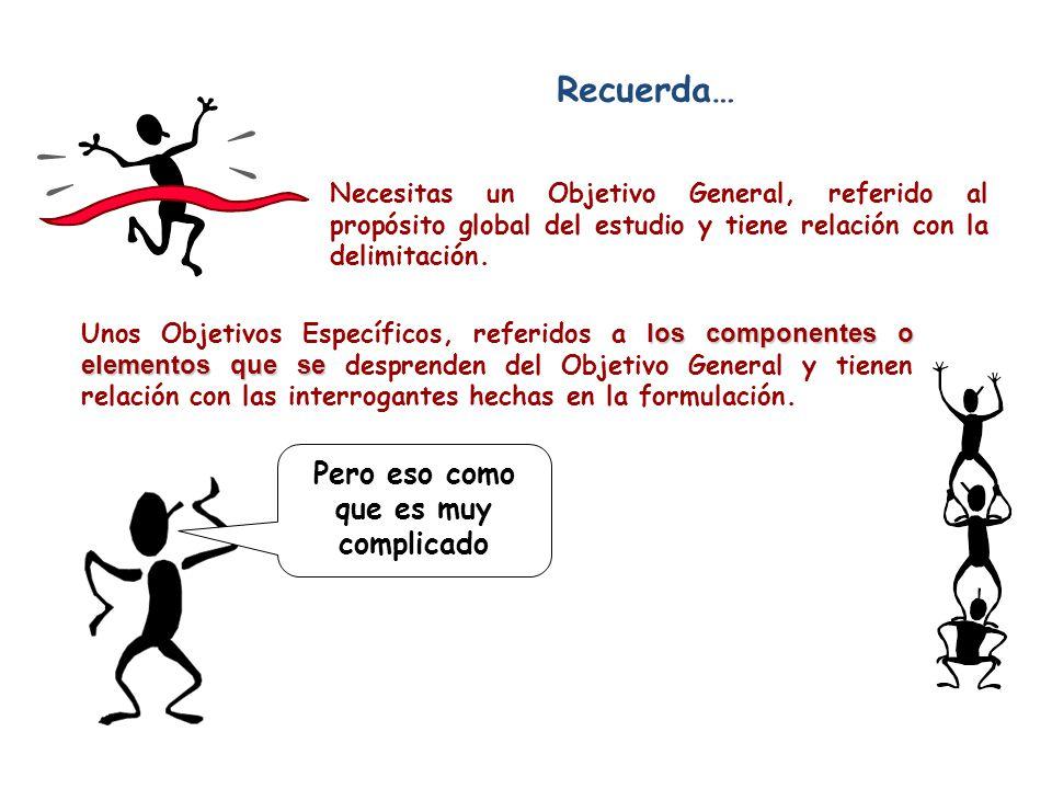 OBJETIVO S Recuerda… Un objetivo se reconoce porque comienza con un verbo en infinitivo. Los verbos denotan las acciones que se llevarán a cabo para l