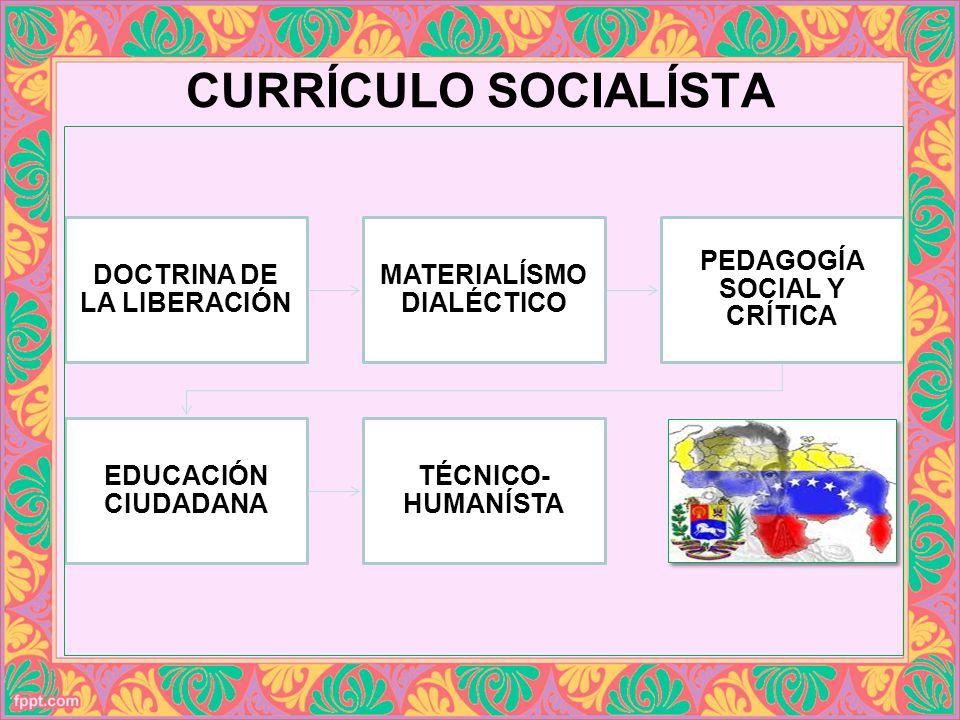 CURRÍCULO SOCIALÍSTA DOCTRINA DE LA LIBERACIÓN MATERIALÍSMO DIALÉCTICO PEDAGOGÍA SOCIAL Y CRÍTICA EDUCACIÓN CIUDADANA TÉCNICO- HUMANÍSTA