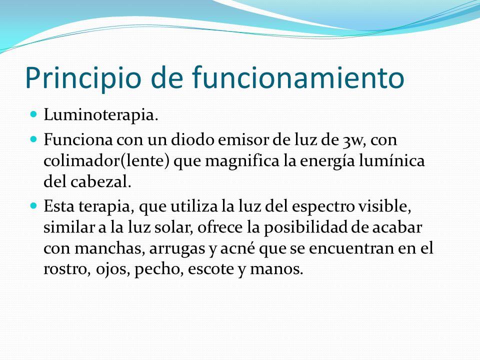 Principio de funcionamiento Luminoterapia. Funciona con un diodo emisor de luz de 3w, con colimador(lente) que magnifica la energía lumínica del cabez