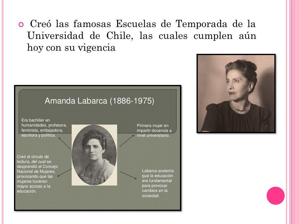 Creó las famosas Escuelas de Temporada de la Universidad de Chile, las cuales cumplen aún hoy con su vigencia