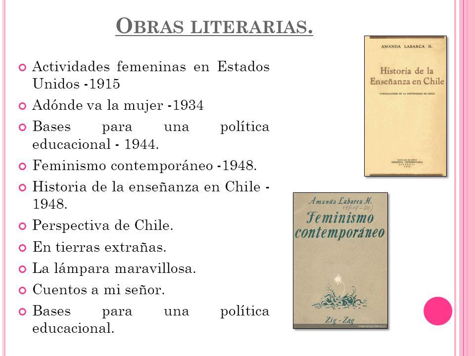 O BRAS LITERARIAS. Actividades femeninas en Estados Unidos -1915 Adónde va la mujer -1934 Bases para una política educacional - 1944. Feminismo contem