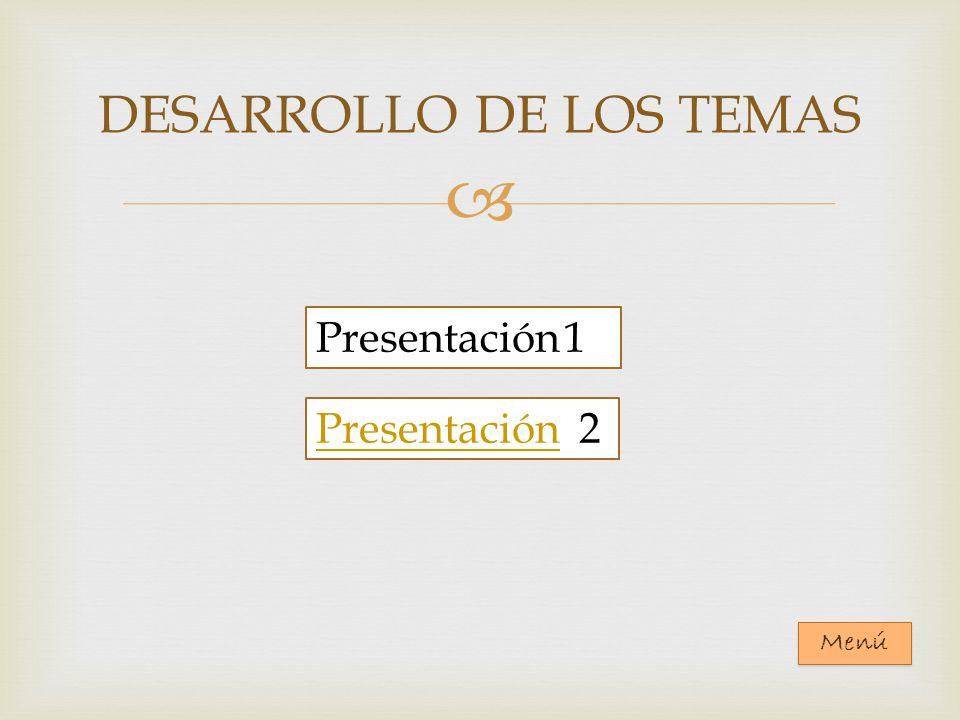 DESARROLLO DE LOS TEMAS Presentación 1 PresentaciónPresentación 2 Menú