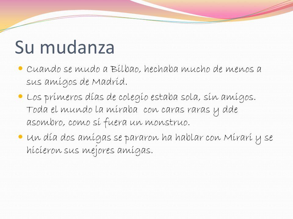 Cosas de Mirari Su cumple es el 13 de Agosto. Vive en un piso bastante grande. Su color favorito es el azul. Su animal favorito es el caballo Va a cla