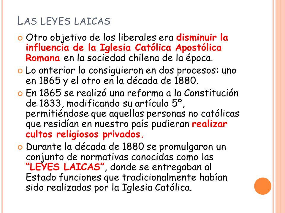 Las leyes laicas fueron tres: 1.Ley de Cementerios Laicos 2.