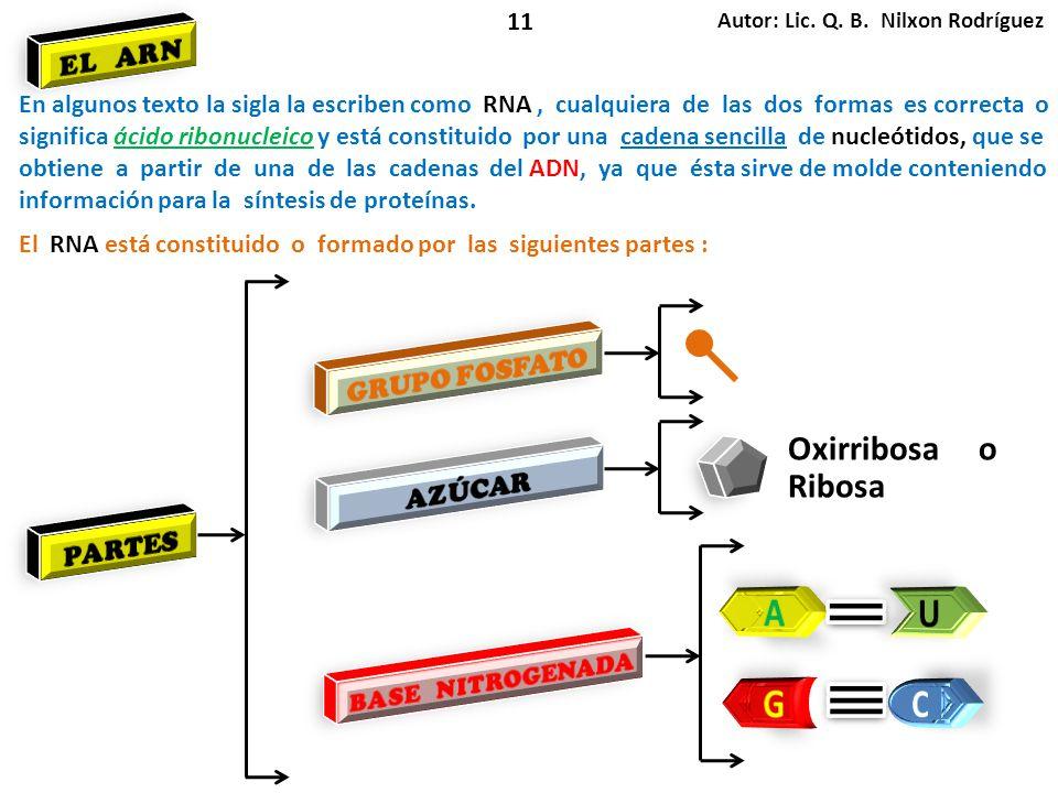 Autor: Lic. Q. B. Nilxon Rodríguez 11 El RNA está constituido o formado por las siguientes partes : En algunos texto la sigla la escriben como RNA, cu