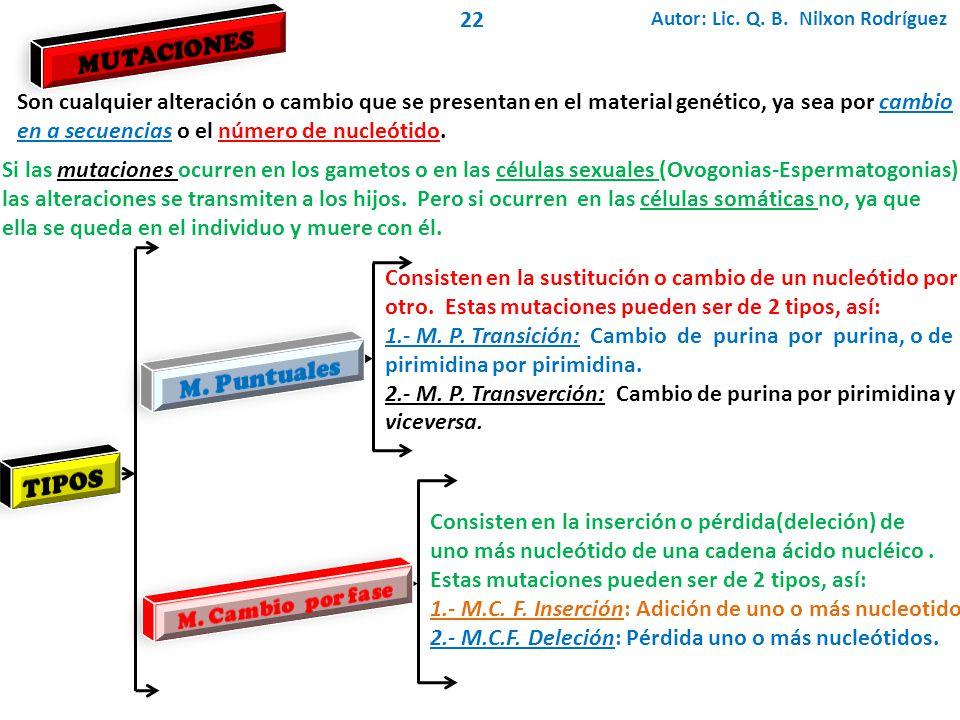 Autor: Lic. Q. B. Nilxon Rodríguez 22 Son cualquier alteración o cambio que se presentan en el material genético, ya sea por cambio en a secuencias o
