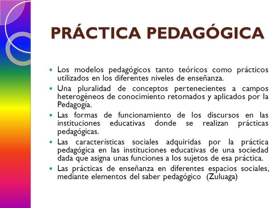 PRÁCTICA PEDAGÓGICA Los modelos pedagógicos tanto teóricos como prácticos utilizados en los diferentes niveles de enseñanza. Una pluralidad de concept