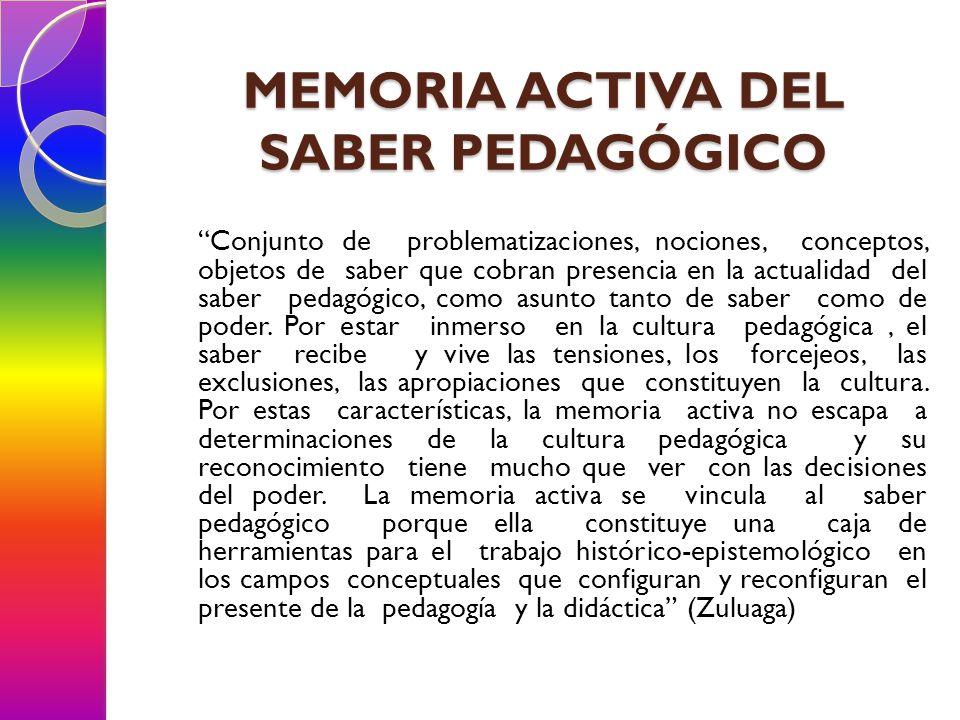 MEMORIA ACTIVA DEL SABER PEDAGÓGICO Conjunto de problematizaciones, nociones, conceptos, objetos de saber que cobran presencia en la actualidad del sa