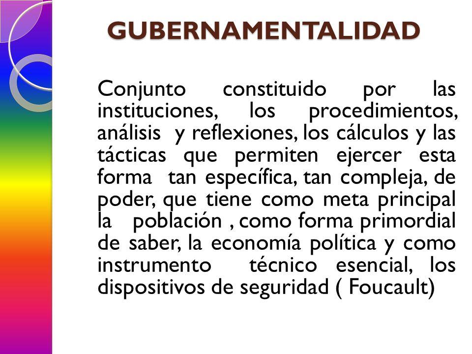 GUBERNAMENTALIDAD Conjunto constituido por las instituciones, los procedimientos, análisis y reflexiones, los cálculos y las tácticas que permiten eje