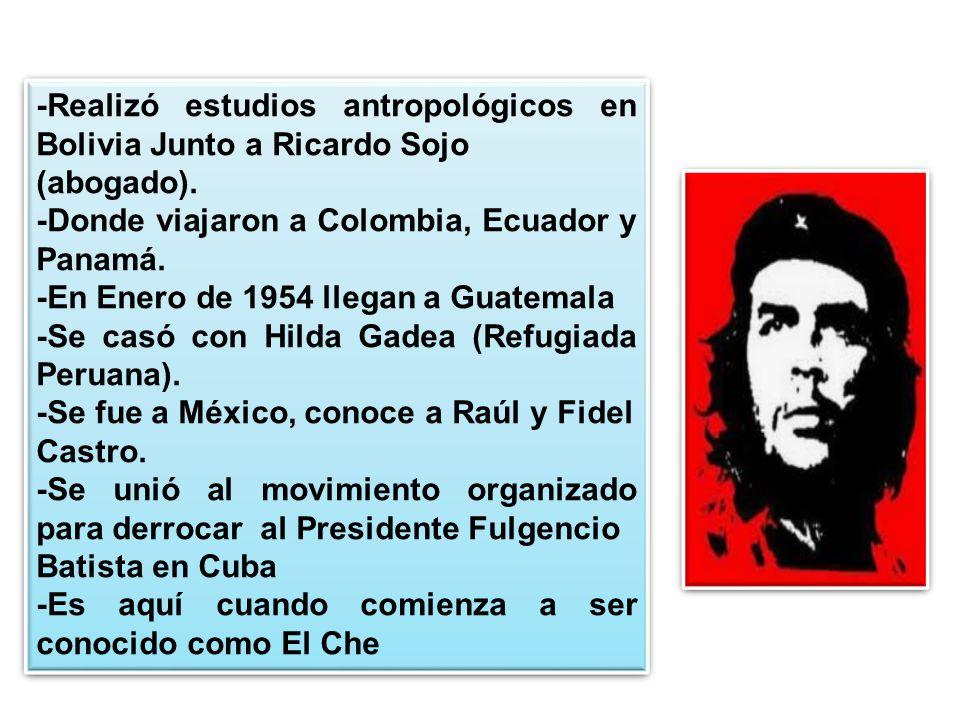 -Realizó estudios antropológicos en Bolivia Junto a Ricardo Sojo (abogado). -Donde viajaron a Colombia, Ecuador y Panamá. -En Enero de 1954 llegan a G
