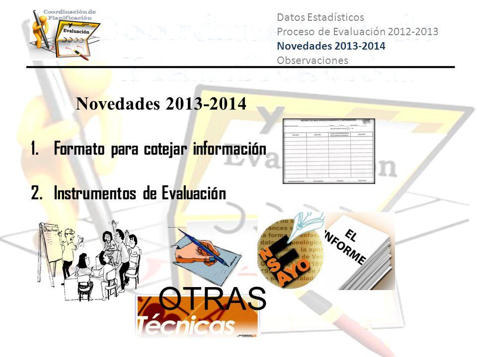 Datos Estadísticos Proceso de Evaluación 2012-2013 Novedades 2013-2014 Observaciones Novedades 2013-2014 1. Formato para cotejar información 2. Instru