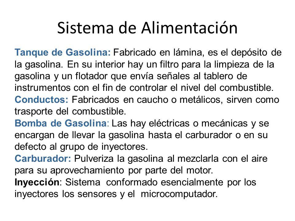 Sistema de Alimentación Tanque de Gasolina: Fabricado en lámina, es el depósito de la gasolina.