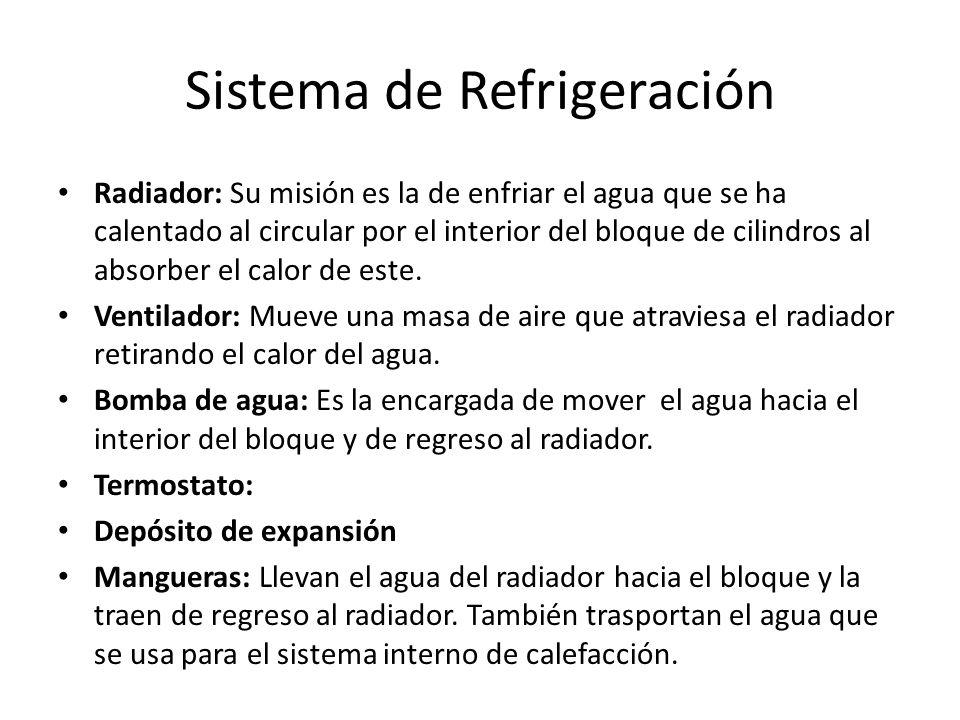 Sistema de Refrigeración Radiador: Su misión es la de enfriar el agua que se ha calentado al circular por el interior del bloque de cilindros al absorber el calor de este.