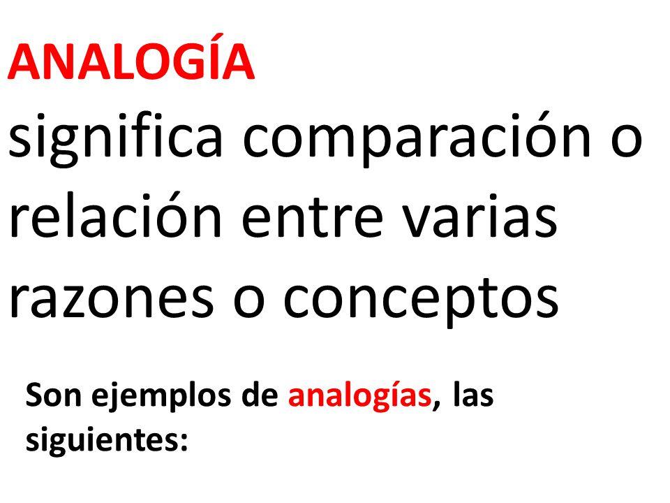 ANALOGÍA significa comparación o relación entre varias razones o conceptos Son ejemplos de analogías, las siguientes: