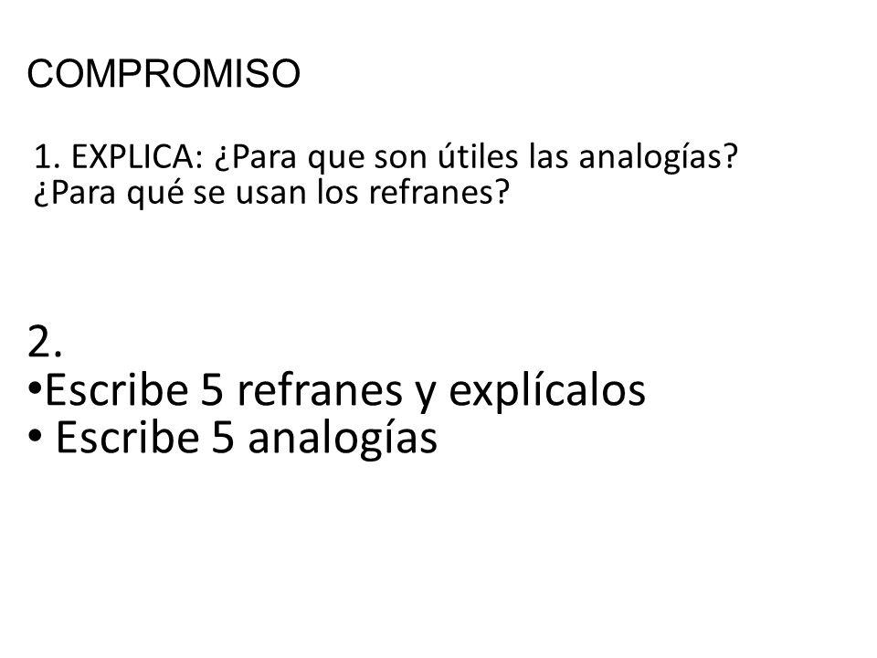 COMPROMISO 1.EXPLICA: ¿Para que son útiles las analogías.