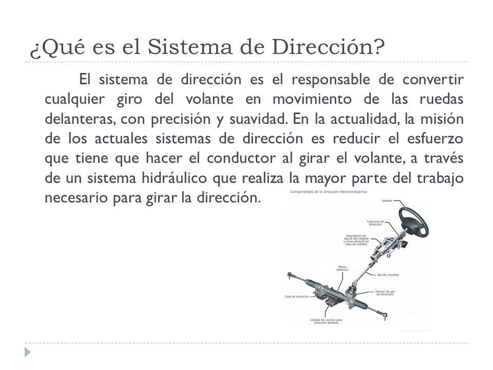 ¿Qué es el Sistema de Dirección? El sistema de dirección es el responsable de convertir cualquier giro del volante en movimiento de las ruedas delante