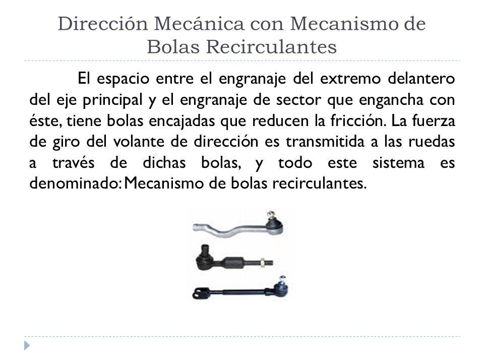 Dirección Mecánica con Mecanismo de Bolas Recirculantes El espacio entre el engranaje del extremo delantero del eje principal y el engranaje de sector