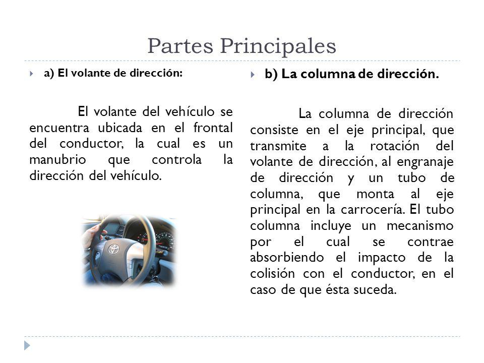 Partes Principales a) El volante de dirección: El volante del vehículo se encuentra ubicada en el frontal del conductor, la cual es un manubrio que co