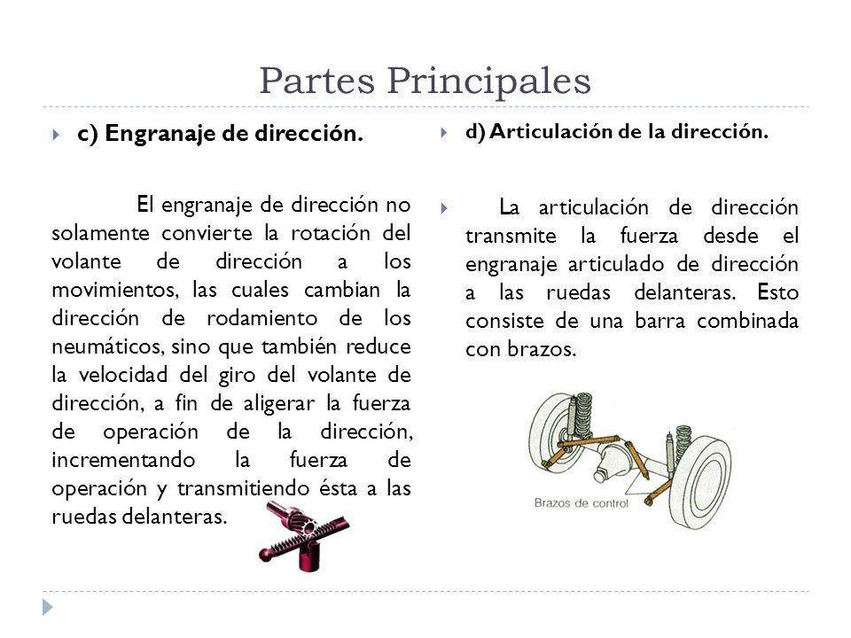 Partes Principales c) Engranaje de dirección. El engranaje de dirección no solamente convierte la rotación del volante de dirección a los movimientos,