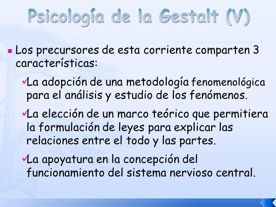 Los precursores de esta corriente comparten 3 características: La adopción de una metodología fenomenológica para el análisis y estudio de los fenómen