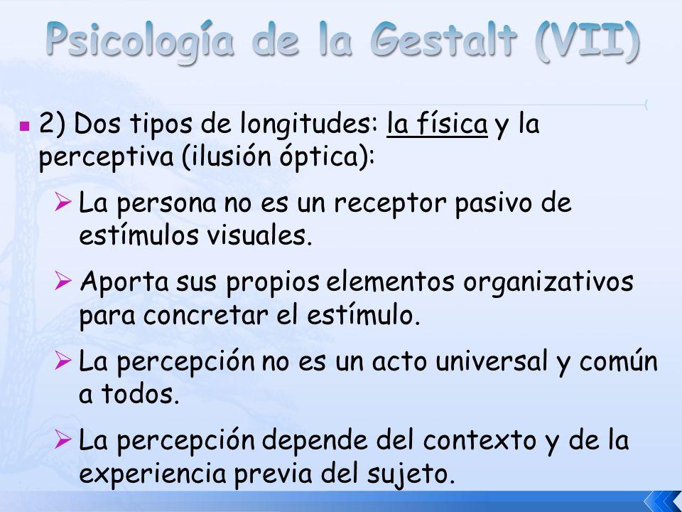 2) Dos tipos de longitudes: la física y la perceptiva (ilusión óptica): La persona no es un receptor pasivo de estímulos visuales. Aporta sus propios
