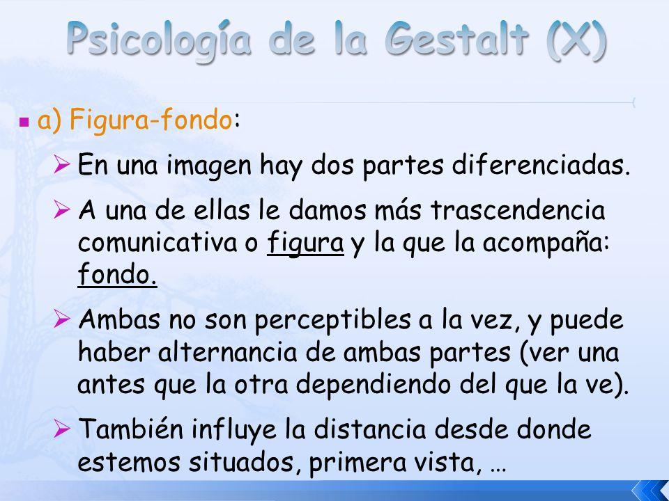 a) Figura-fondo: En una imagen hay dos partes diferenciadas. A una de ellas le damos más trascendencia comunicativa o figura y la que la acompaña: fon