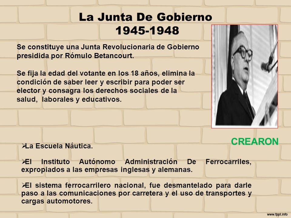 La Junta De Gobierno 1945-1948 Se constituye una Junta Revolucionaria de Gobierno presidida por Rómulo Betancourt. Se fija la edad del votante en los
