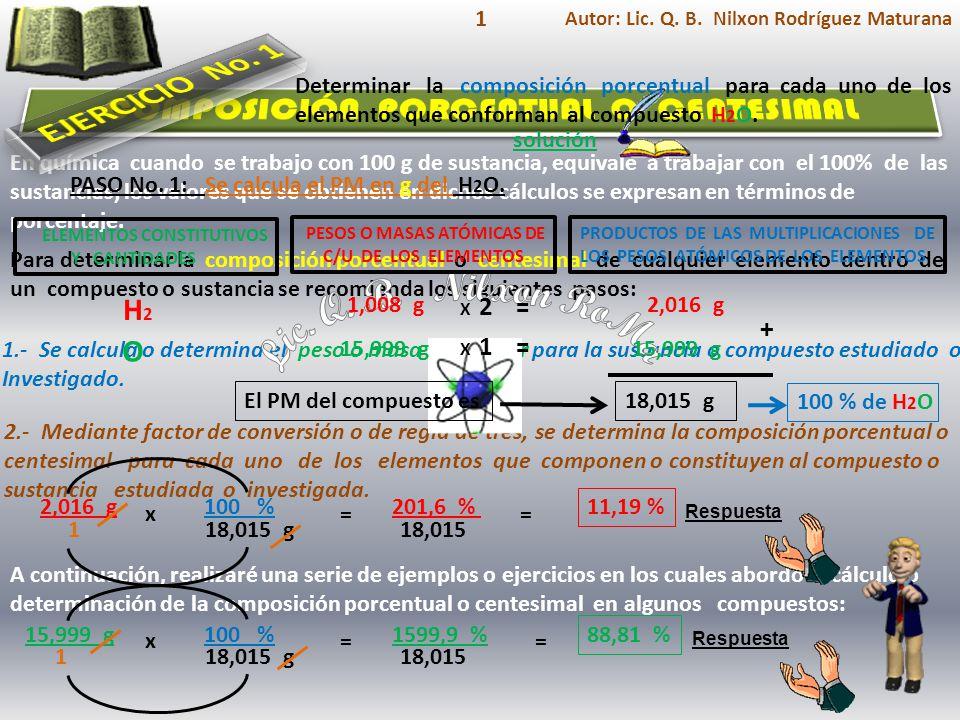ELEMENTOS CONSTITUTIVOS Y CANTIDADES Respuesta El PM del compuesto es solución Determinar la composición porcentual para cada uno de los elementos que conforman al compuesto NaCl.