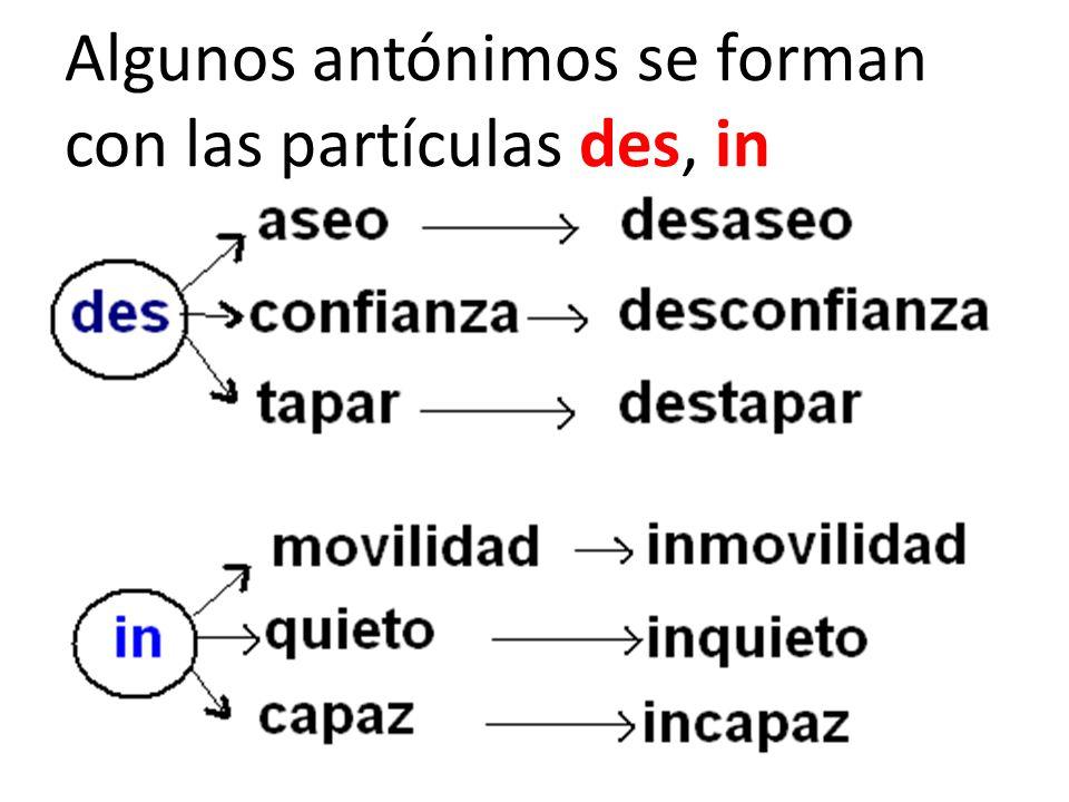 Algunos antónimos se forman con las partículas des, in