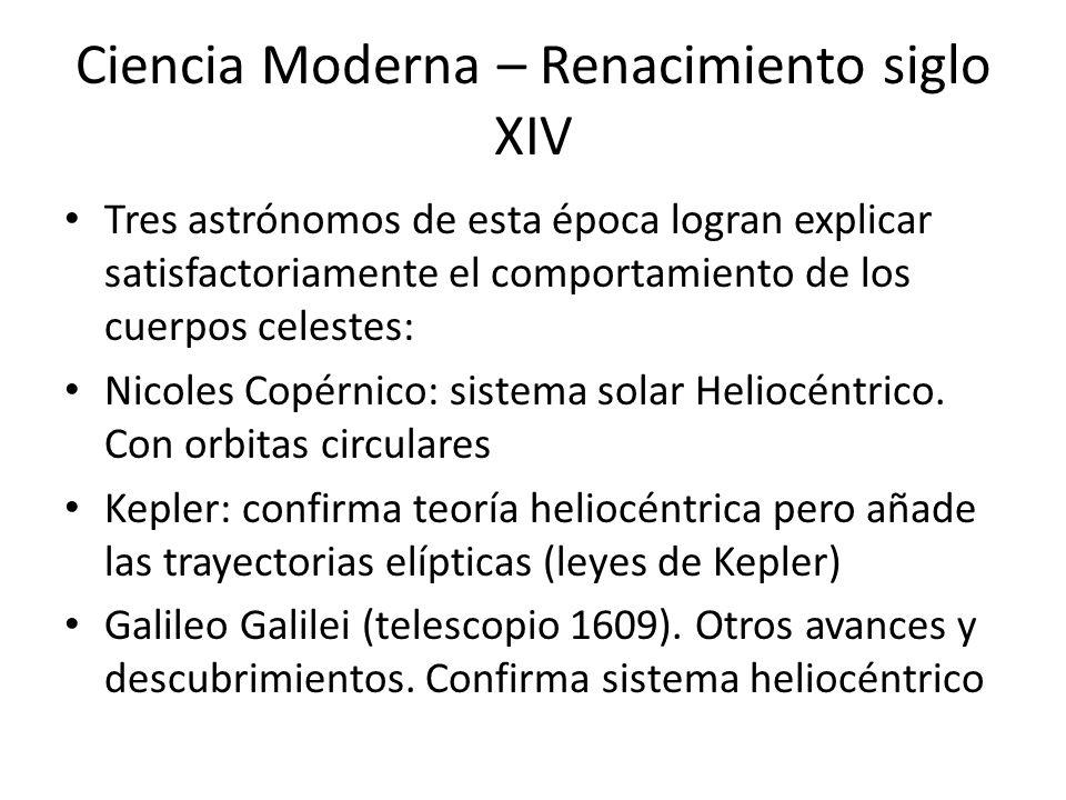 Ciencia Moderna – Renacimiento siglo XIV Tres astrónomos de esta época logran explicar satisfactoriamente el comportamiento de los cuerpos celestes: N