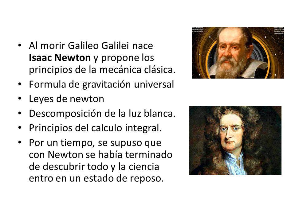 Al morir Galileo Galilei nace Isaac Newton y propone los principios de la mecánica clásica. Formula de gravitación universal Leyes de newton Descompos