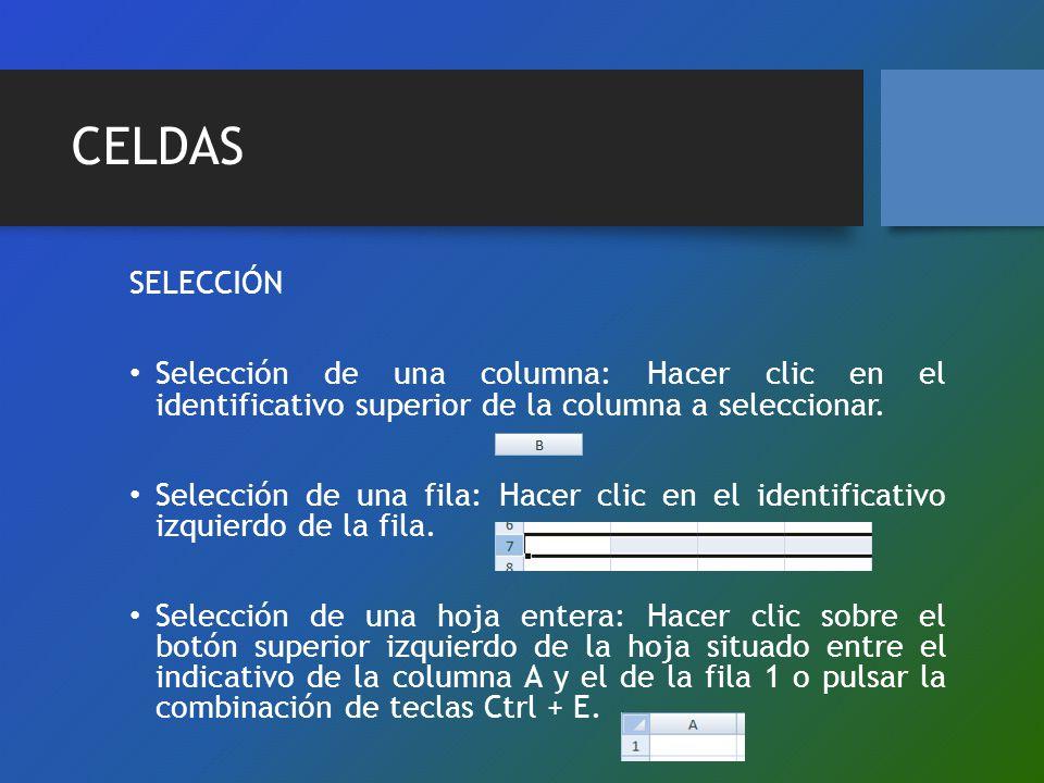CELDAS SELECCIÓN Selección de una columna: Hacer clic en el identificativo superior de la columna a seleccionar. Selección de una fila: Hacer clic en