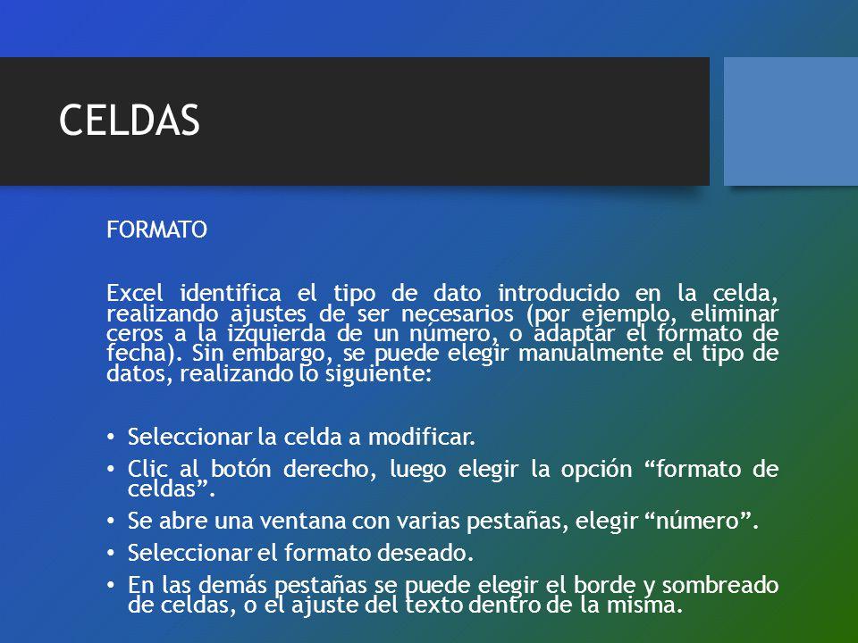 CELDAS FORMATO Excel identifica el tipo de dato introducido en la celda, realizando ajustes de ser necesarios (por ejemplo, eliminar ceros a la izquie