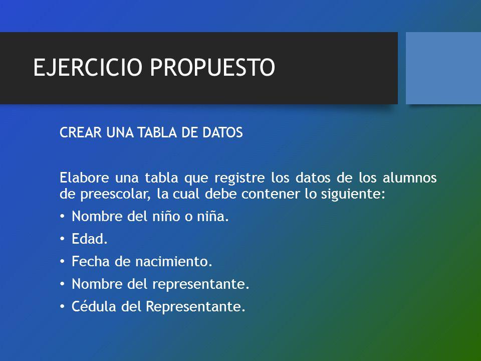 EJERCICIO PROPUESTO CREAR UNA TABLA DE DATOS Elabore una tabla que registre los datos de los alumnos de preescolar, la cual debe contener lo siguiente