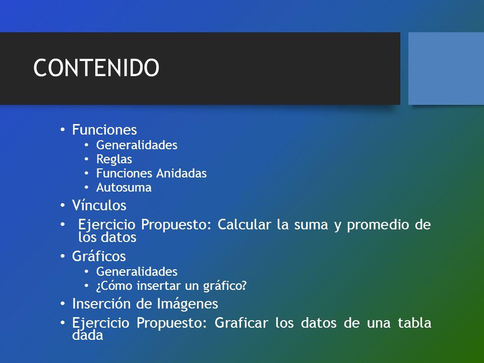 CONTENIDO Funciones Generalidades Reglas Funciones Anidadas Autosuma Vínculos Ejercicio Propuesto: Calcular la suma y promedio de los datos Gráficos G