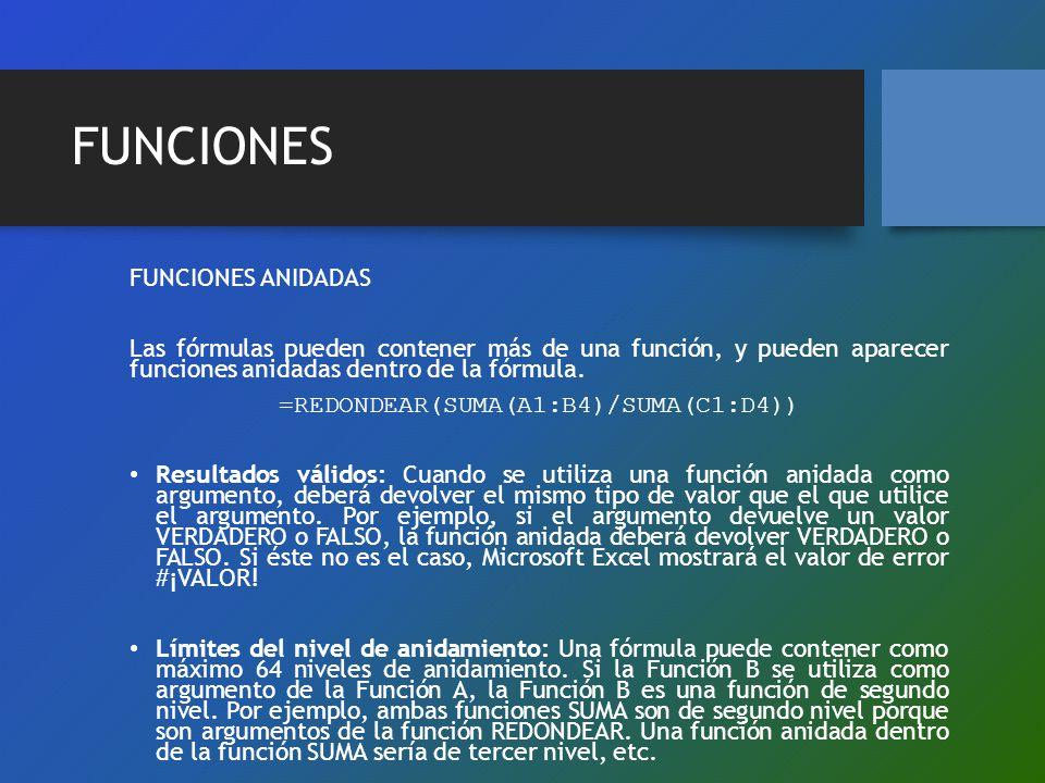 FUNCIONES FUNCIONES ANIDADAS Las fórmulas pueden contener más de una función, y pueden aparecer funciones anidadas dentro de la fórmula. =REDONDEAR(SU