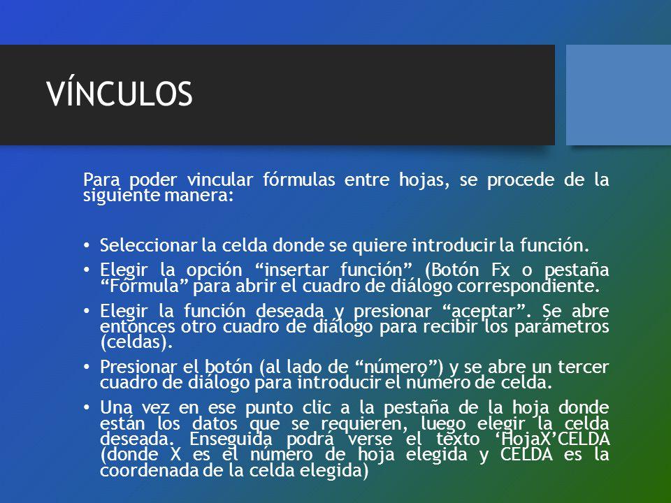 VÍNCULOS Para poder vincular fórmulas entre hojas, se procede de la siguiente manera: Seleccionar la celda donde se quiere introducir la función. Eleg