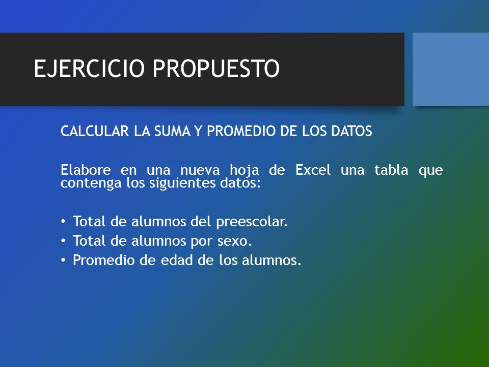 EJERCICIO PROPUESTO CALCULAR LA SUMA Y PROMEDIO DE LOS DATOS Elabore en una nueva hoja de Excel una tabla que contenga los siguientes datos: Total de