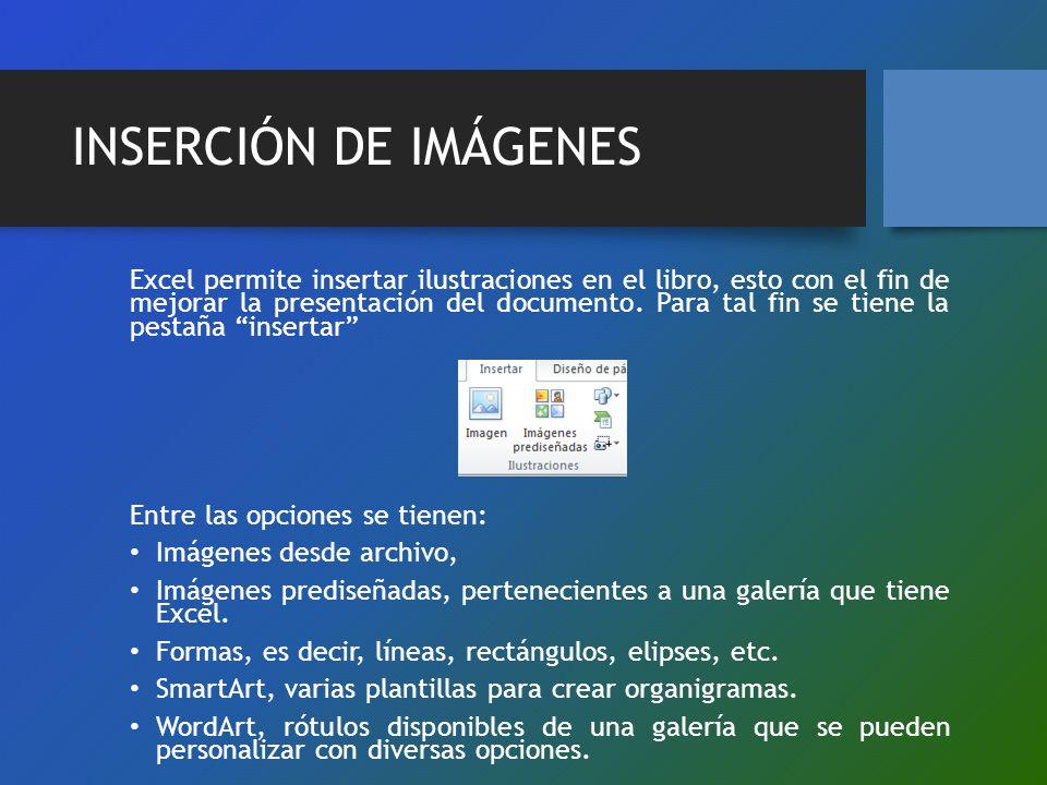 INSERCIÓN DE IMÁGENES Excel permite insertar ilustraciones en el libro, esto con el fin de mejorar la presentación del documento. Para tal fin se tien