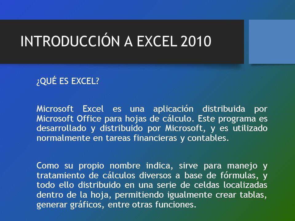 INTRODUCCIÓN A EXCEL 2010 ¿QUÉ ES EXCEL? Microsoft Excel es una aplicación distribuida por Microsoft Office para hojas de cálculo. Este programa es de