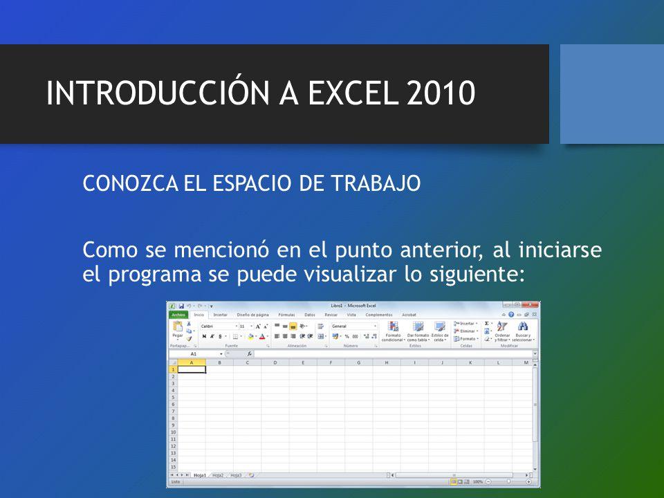 INTRODUCCIÓN A EXCEL 2010 CONOZCA EL ESPACIO DE TRABAJO Como se mencionó en el punto anterior, al iniciarse el programa se puede visualizar lo siguien